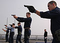 US Navy 070326-N-6710M-006 Members assigned to ship reaction force basic team train on the flight deck while dock landing ship USS Tortuga (LSD 46) is conducting exercise Foal Eagle 2007.jpg