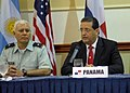 US Navy 070829-N-1713L-068 Rodrigo Cigarruista, Esq., Director of the National Maritime Service of Panama, addresses the media during a press conference at the launch of PANAMAX 2007.jpg