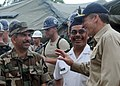 US Navy 080813-N-5642P-048 Rear Adm. Joseph Kernan, commander of the U.S. 4th Fleet, speaks about the Continuing Promise 2008 mission goals with Nicaraguan Army Col. Jose Danilo Blanco at a civil engineering team site.jpg