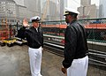 US Navy 090721-N-4236E-091 Chief Fire Controlman Gregory Smith reenlists at Ground Zero while visiting New York during a port visit for the guided-missile destroyer USS Mahan (DDG 72).jpg