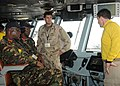 US Navy 100629-N-4236E-590 A Sailor explains bridge operations to distinguished visitors from the Kenyan Armed Forces, who were guests of U.S. Africa Command and Combined Joint Task Force, Horn of Africa.jpg