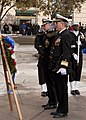 US Navy 111111-N-PR464-006 Rear Adm. Patrick Lorge and retired Rear Adm. Timothy Heely lay a wreath during the Veteran's Day ceremony at the U.S. N.jpg