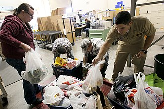 Food bank - Volunteers weigh food drive donations.