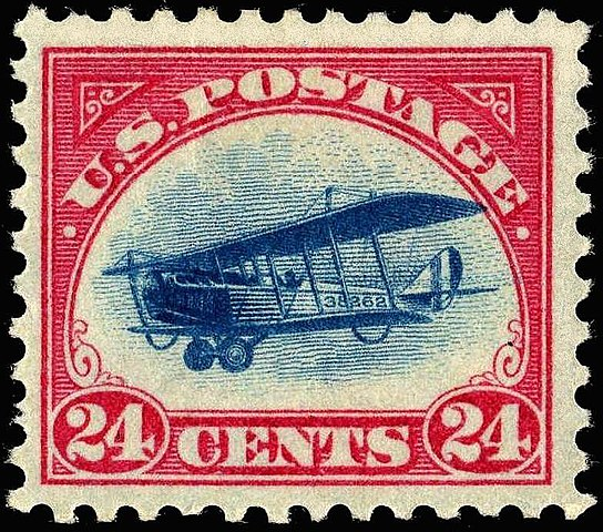 First US airmail stamp, depicting a Curtis Jenny, issued 13 May 1918 Source: Wikipedia 544px-US_stamp_1918_24c_Curtiss_Jenny_-C3.jpg