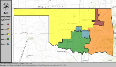 United States Congressional Districts in Oklahoma, 2003 - 2013.tif
