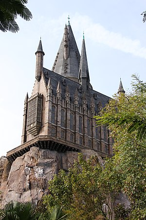 The Wizarding World of Harry Potter (Universal Orlando Resort) - Hogwarts Castle exterior of Harry Potter and the Forbidden Journey as seen from the Herbology greenhouse queue