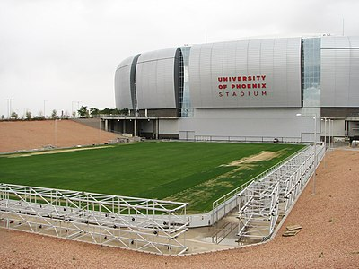 The movable field outside of the stadium. University of Phoenix Stadium field 01.jpg
