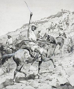 Yaqui Wars - Uprising of the Yaqui Indians - Yaqui Warriors in Retreat, by Frederic Remington, 1896.