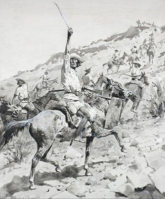 Yaqui Uprising - Uprising of the Yaqui Indians - Yaqui Warriors in Retreat, by Frederic Remington.