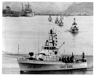 Ready service ammunition - USCGC Point Marone (WPB-82331) leaving Subic Bay Naval Base for Vietnam along with other cutters of Division 11, Coast Guard Squadron One, 24 July 1965.  Two ammunition ready boxes containing 81 mm mortar ammunition are visible forward of the deckhouse front bulkhead.
