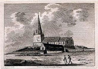 Braye du Valle, Guernsey - Vale Church from Braye du Valle, at low water