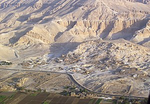 Tombs of the Nobles (Luxor) - Aerial view about the Valley of the Nobles/Sheikh Abd el-Qurna.