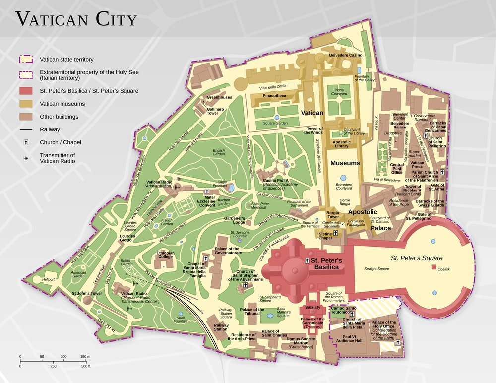 Map of Vatican City, highlighting notable buildings and the Vatican gardens Vatican City map EN.png