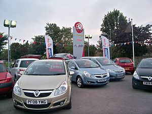 Opel Corsa - Vauxhall Corsas on sale in Wetherby, West Yorkshire, England in 2009
