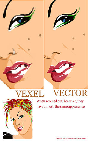 Vexel - Difference between a Vexel and a Vector. Both are created using Adobe Photoshop or a similar application with the pen tool although the vector is made using the shape layer function of the pen tool whereas the vexel is based on raster layers.