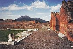 A Vezúv látképe Pompeiiből