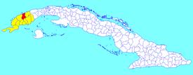 Viñales-municipo (ruĝa) ene de Pinar del Río (flava) kaj Kubo