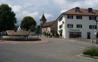 Vich, Switzerland - The center of Vich and its church