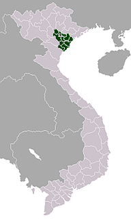 northern part of Vietnam, to the west of the Gulf of Tonkin
