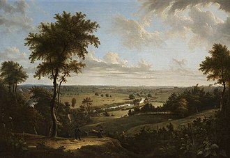 Manchester - View from Kersal Moor towards Manchester by Thomas Pether, circa 1820, then still a rural landscape.