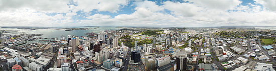 360 degrees panorama view as seen from Sky Deck, Sky Tower, Auckland.