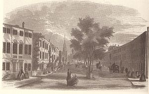 "Franklin Place - ""View of Franklin Street, Boston"", 1855, with full bustle of carriages and pedestrians."