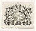 Vignet met zittende vrouw en Minerva Titelpagina voor François Halma en Matthaeus Brouërius van Nidek, Tooneel der Vereenighde Nederlanden en onderhorige landschappen, 1725, RP-P-1950-845-77.jpg