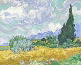 Wheat Field with Cypresses - Image: Vincent van Gogh Wheat Field with Cypresses (National Gallery version)
