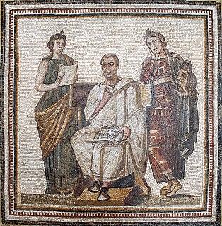 <i>Virgil Mosaic</i> Ancient Roman mosaic at the Bardo National Museum