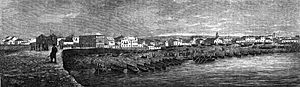 Póvoa de Varzim - Mid-19th century skyline as seen from Ribeira shipyard, located in the port of Póvoa de Varzim.