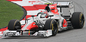 HRT Formula 1 Team - Vitantonio Liuzzi qualifying at the 2011 Malaysian Grand Prix.