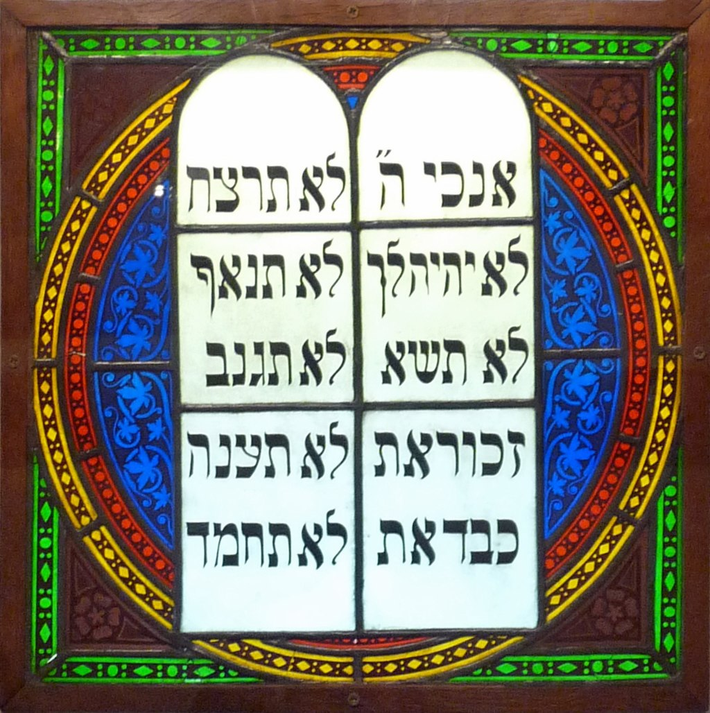 Stained glass window depicting the Ten Commandments