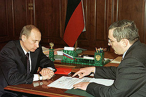 THE KREMLIN, MOSCOW. President Putin with Mikh...