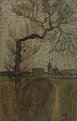 Voetpad met wilg en dorpje aan de horizon (1891)