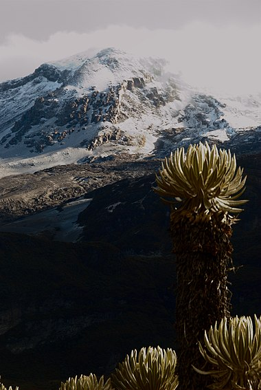 Mountain climate is one of the unique features of the Andes and other high altitude reliefs Volcan Nevado del Ruiz.jpg
