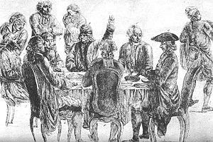 Café Procope - At Café Procope: at rear, from left to right: Condorcet, La Harpe, Voltaire (with his arm raised) and Diderot.