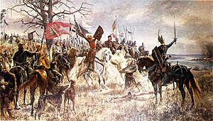 Siege of Kaunas (1362) - Oath of Vytautas the Great, Grand Duke of Lithuania, by ruined Kaunas Castle in 1362 by Jan Styka (1901) is not historically accurate as Vytautas was a young child at the time of the siege