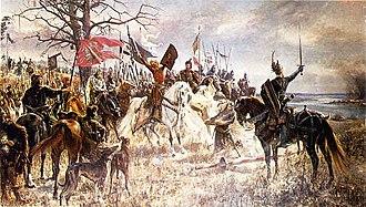 """Kaunas Castle - Jan Styka, """"Oath of Vytautas the Great, Grand Duke of Lithuania, by ruined Kaunas Castle in 1362"""", 1901 m., The Vytautas the Great War Museum, Kaunas."""