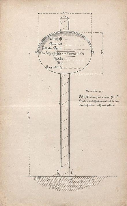 Vzor místní tabule dle výnosu moravského místodržitelství z roku 1876  vydaného na základě § 9 zákona 8def199d6e6