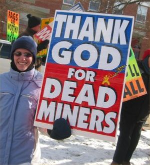 The Westboro Baptist Church picketing at the m...