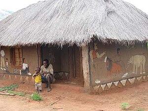 Tingatinga (painting) - Wall paintings in Ngapa, the village of E.S.Tingatinga's father