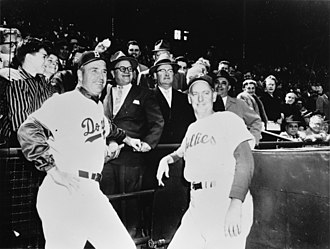 Roosevelt Stadium - Brooklyn Dodgers manager Walter Alston with Philadelphia Phillies manager Mayo Smith before a 1957 game at Roosevelt Stadium