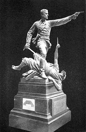 Siege of the British Residency in Kabul - Statue of Lt Walter Hamilton, VC during the attack on the residency