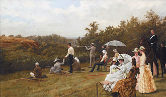 Running target shooting - The american shooter Walter Winans during a 100 meter running deer competition in Wimbledon Common, London (painting by Thomas Blinks, 1888).