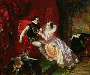 Edward Matthew Ward - Leicester and Amy Robsart at Cumnor Hall (1866), after Walter Scott's novel Kenilworth