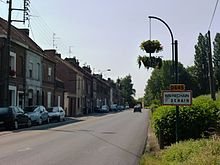 Wavrechain-sous-Denain (Nord, Fr) city limit sign.JPG