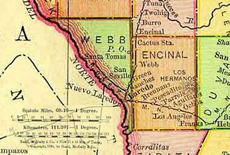 Webb County, Texas - Image: Webb Encinal Counties 1895