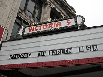 Harlem - Welcome to Harlem sign above the now defunct Victoria 5 cinema theater on 125th st