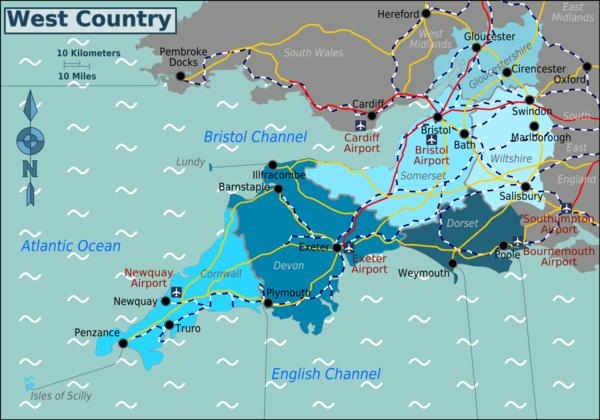 Cartina Stradale Inghilterra Del Sud.Sud Ovest Inghilterra Wikivoyage Guida Turistica Di Viaggio