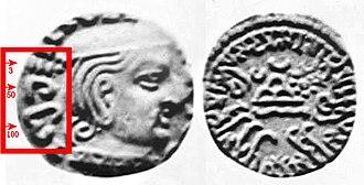 Brahmi numerals - Image: Western Satrap Damasena year 153